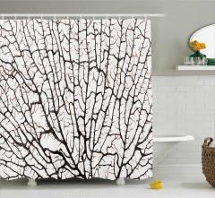 Kahverengi Duş Perdesi Sarmaşık Dalları Beyaz