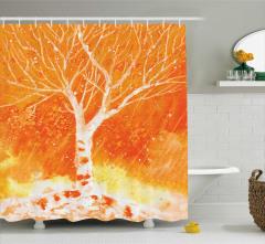 Turuncu Duş Perdesi Suluboya Etkili Yağmur Ağaç