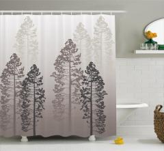 Sisli Orman Temalı Duş Perdesi Gri Şık Tasarım