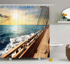 Yelkenli ve Güneşli Deniz Temalı Duş Perdesi Şık