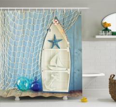 Dekoratif Tekne ve Ağ Desenli Duş Perdesi Mavi Beyaz