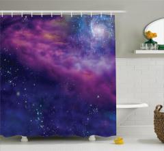 Uzay ve Galaksi Desenli Duş Perdesi Şık Dekoratif