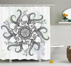 Siyah Beyaz Çiçek Desenli Duş Perdesi Ahtapot Formlu