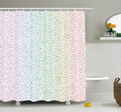 Rengarenk Duş Perdesi Yağmur Damlacıklı Şık Tasarım