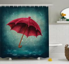 Yeşil Duş Perdesi Yağmur Nostaljik Kırmızı Şemsiye