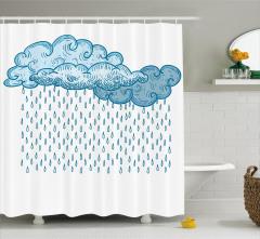Çocuklar için Duş Perdesi Yağmur Bulutu Mavi Beyaz