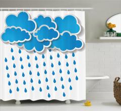 Çocuklar için Duş Perdesi Mavi Beyaz Yağmur Bulutu
