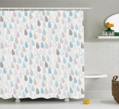 Çocuklar için Duş Perdesi Yağmur Temalı Pembe Mavi