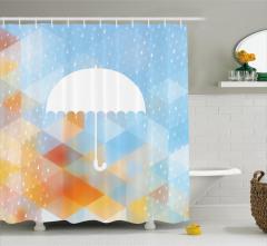 Yağmur Temalı Duş Perdesi Sonbahar Modern Sanat