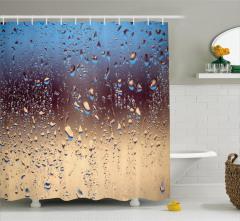 Yağmur Temalı Duş Perdesi Buğulu Cam Etkili Sonbahar