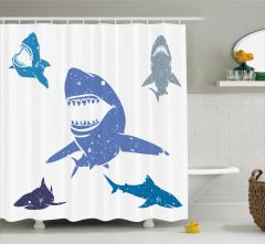 Rengarenk Köpek Balığı Desenli Duş Perdesi Mavi Gri