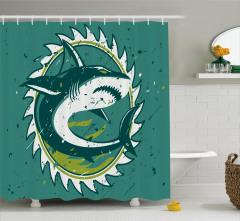 Yeşil Duş Perdesi Köpek Balığı Şık Tasarım Beyaz