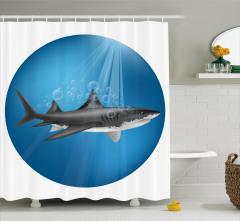 Köpek Balığı Desenli Duş Perdesi Sualtı Avcısı Mavi