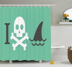 Yeşil Duş Perdesi Kurukafa Köpek Balığı Siyah Beyaz