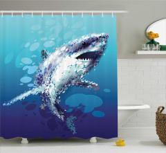 Köpek Balığı Desenli Duş Perdesi Modern Sanat Mavi
