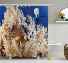 Okyanusta Yaşam Temalı Duş Perdesi Balıklar Mavi