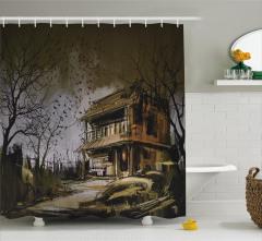 Perili Ev Temalı Duş Perdesi Ahşap Kahverengi Kuş