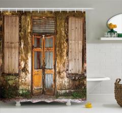 Terk Edilmiş Bina Temalı Duş Perdesi Kahverengi