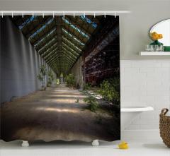 Issız Fabrika Temalı Duş Perdesi Kahverengi Yeşil