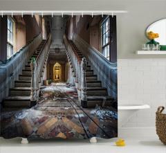 Hasarlı Bina Temalı Duş Perdesi Kahverengi Merdiven