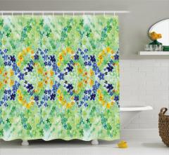 Yeşil Duş Perdesi Rengarenk Çiçek Desenli Bahar