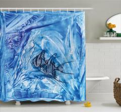 Mavi Duş Perdesi Balık Desenleri Modern Sanat Trend