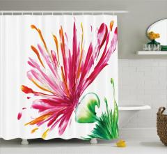 Suluboya Resmi Etkili Duş Perdesi Pembe Çiçek Deseni