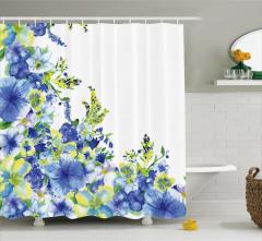 Suluboya Resmi Etkili Duş Perdesi Mavi Çiçekler