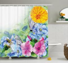 Suluboya Resmi Etkili Duş Perdesi Bahar Çiçekleri