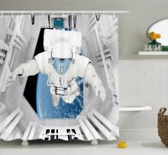 Uzay Temalı Duş Perdesi Astronot Desenli Gri Mavi