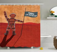 Astronot Desenli Duş Perdesi Uzay Turuncu Kırmızı