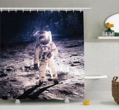 Astronot Desenli Duş Perdesi Uzay Ay Lacivert Gri
