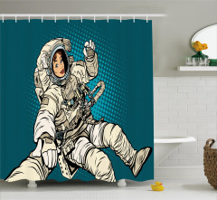 Kadın Astronot Desenli Duş Perdesi Mavi Şık Tasarım