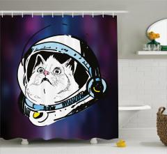 Astronot Kedi Temalı Duş Perdesi Mor Beyaz Uzay
