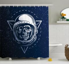 Kuru Kafa Astronot Temalı Duş Perdesi Lacivert Gri