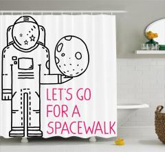 Uzay Temalı Duş Perdesi Siyah Beyaz Pembe Astronot