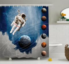Astronot ve Gezegenler Temalı Duş Perdesi Mavi Şık