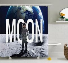 Ay'da Yürüyüş Temalı Duş Perdesi Dünya Lacivert Gri