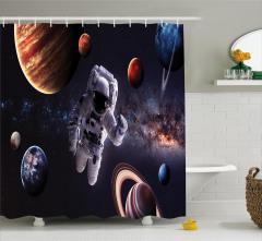 Gezegenler Temalı Duş Perdesi Lacivert Uzay Astronot