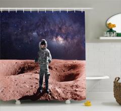 Mars ve Astronot Temalı Duş Perdesi Uzay Gezegen