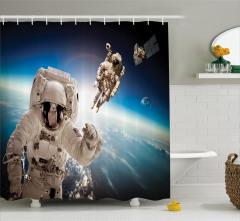 Astronot Temalı Duş Perdesi Dünya Mavi Beyaz Uzay