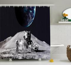 Ay'daki Astronot Temalı Duş Perdesi Gri Uzay Kozmos