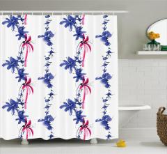 Mavi Pembe Çiçek Desenli Duş Perdesi Şık Çeyizlik