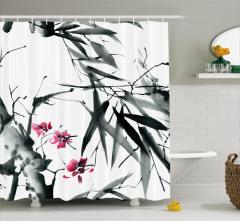 Çiçek ve Bambu Desenli Duş Perdesi Pembe Gri Beyaz