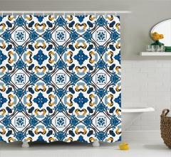 Çini Etkili Geometrik Desenli Duş Perdesi Sarı Mavi