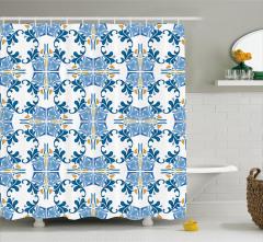 Şık Mavi Sarı Desenli Duş Perdesi Seramik Etkili