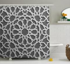 Beyaz Geometrik Desenli Duş Perdesi İslam Etkili