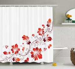 Dekoratif Çiçek Desenli Duş Perdesi Kırmızı Turuncu