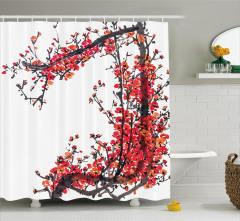 Pembe Turuncu Çiçek Desenli Duş Perdesi Çeyizlik