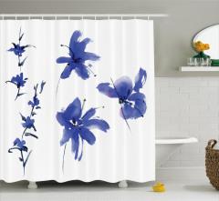Sulu Boya Mor Çiçek Desenli Duş Perdesi Çeyizlik